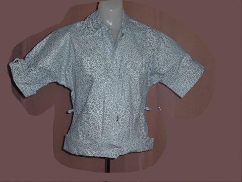Vintage Paper Blouse Blue White Floral Design Paper Shirt Size 26