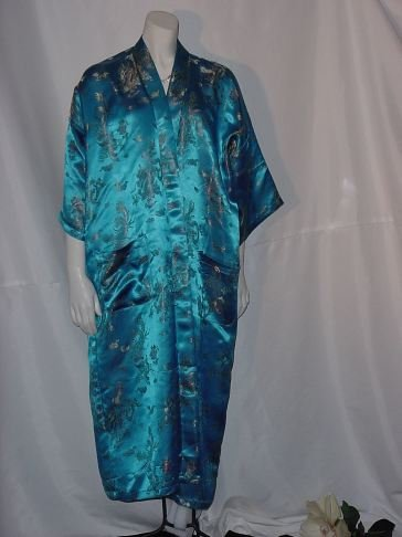 Pure Silk Turquoise Asian Design Fabric Robe Size 10  No. 22