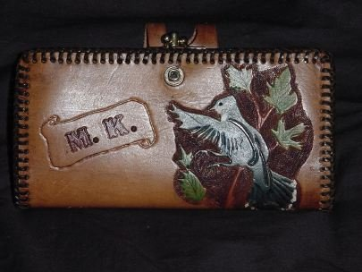 Vintage Leather hand Tooled Wallet Initials M.K., blue-jay, leaves leather tool  #84