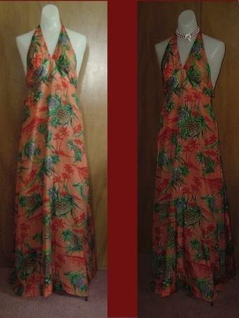 Vintage HAWAIIAN 1960s 1970s Keene Halter Summer Dress Casual hippy boho Dress  No. 22