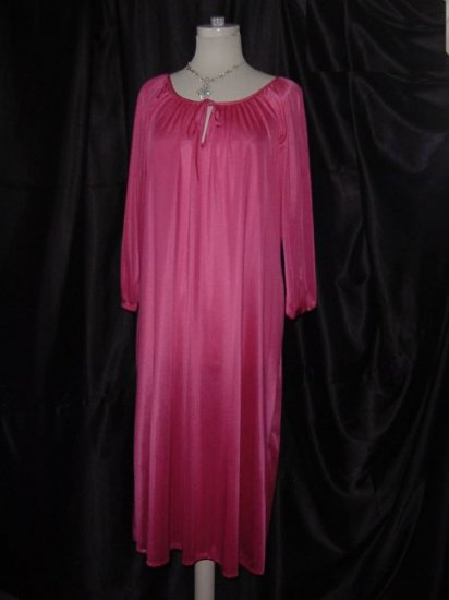 Hot Pink Free Bust Night gown comfortable nightgown Long sleeves