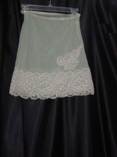 Wonder Maid Vintage Nylon Celery Green Mini Slip Mega lace hem  No. 22