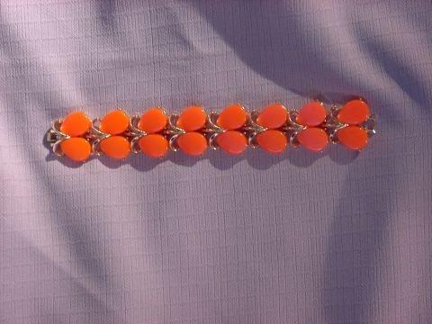 Vintage Orange and Gold tone Bracelet Vintage jewelry  No. 142