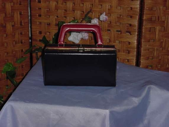 Vintage Red Navy Blue Lunch box Satchel, Purse, Bag, handbag  No. 26