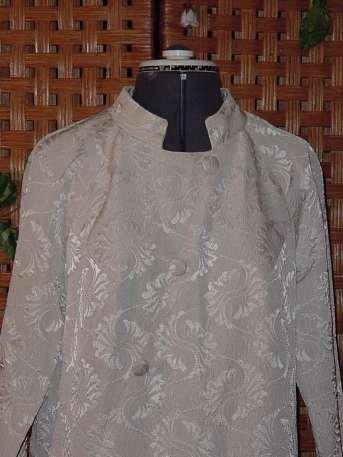 Vintage Ivory Nehru Collar Brocade Vintage Coat Dress