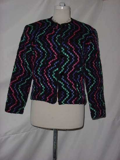 Gay Boyer New York 10 Ribbon Jacket Black with multi colored ribbons intertwined throughout  No. 23