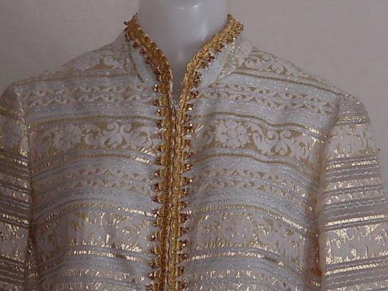 Vintage 1960s 1970s Gold Silver White Saks Fifth Avenue Mini Dress  No. 9
