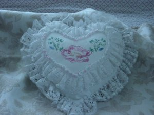 Heart shaped embroidered pillow lace edged  #9