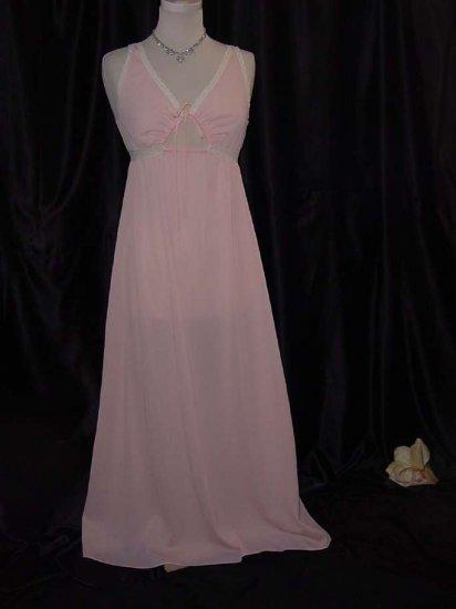 Vintage Peach Miss Elaine Nightgown Keyhole Empire Waist Vintage night gown  #60