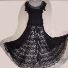 Vintage Dress Black French Lace Tiered Vintage Formal Gown Party Dress 1920s 1930's  No. 9