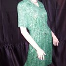 Green Vintage Jersey Day dress button front soft dress 1950s 1960  No. 9