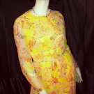 Vintage 1960s 1970s Dress Carlye Psychedelic Orange Yellow Browns pinks floor length  No. 9