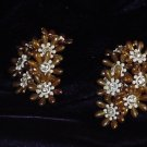 Vintage Clip  Root Beer Colored Plastic with Rhinestone Earrings