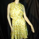 Vintage SZ 9 Dress Yellow  Orange Red Short Pleated Dress 60s 70s  No. 16