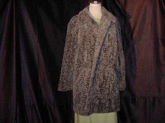 Faux fur Vintage gray coat Plush Swing Coat Jacket