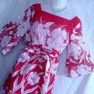 Sheer Red Orange White Floor Length Dress Vintage Floral Bust 38  No. 16