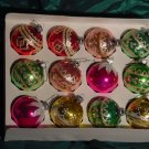 Vintage Lot of 12 Glass or flocked Christmas ornaments Stenciled Designs 12 designed