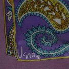 Vera Vintage signed Scarf Purple, paisley, blue, yellows Oblong   53