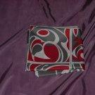 Vintage Scarf Gray Border, White rolled edge, red-orange white Gray Op Art squares   53