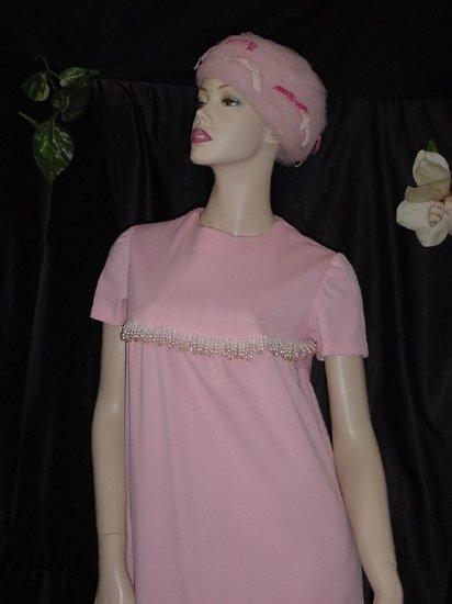 Pink maxi shift dress Beaded yoke 1970s 1980s  Vintage womans dress 48
