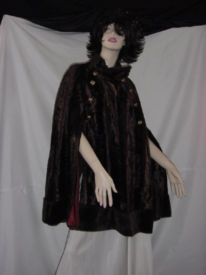 Faux Fur Cape Womens 1960s Brown Mod Military inspired Cape coat   45