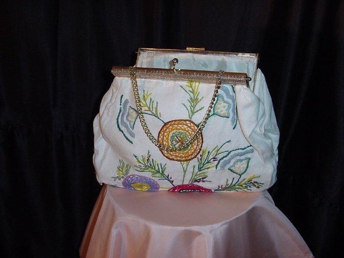 White Cloth Purse Handbag Stitched design Bag  42