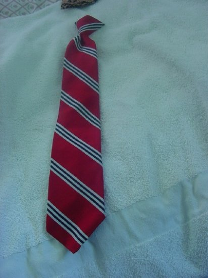 Necktie Clip on Hook tie Ketch Red White Blue Diagonal stripe tie