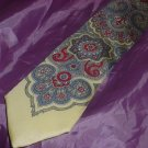 Mens Tie 100% Silk Paisley Design red gray yellow  41