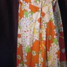 Vintage Paani Hibiscus Design Vivid Orange Hawaiian Maxi Dress lounge wear beach wear 47