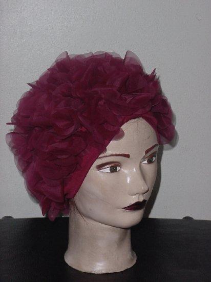 Raspberry Wine Petal hat Vintage headband petal hat Womens hat  49