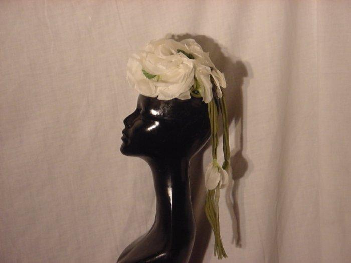 Vintage hat white chiffon petal womans hat ladies hat  #62