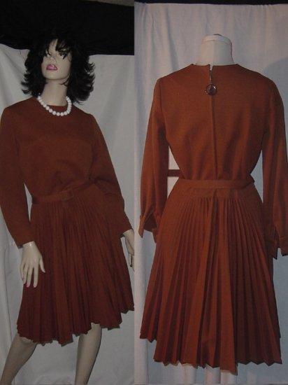 Dress Vintage Julie Miller 2 piece dress vest Pleated Skirt Swing dress 1960s ensemble No. 2