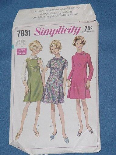 Simplicity pattern 7831 Vintage pattern dress 1968 half size 14 1/2 bust 37  54