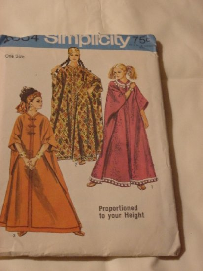 Simplicity Vintage pattern 8354 ethnic cloth caftan dress  One size 1969 54