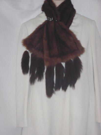 Mink collar Fur tails collar bakelite plastic rhinestone fur clip #56