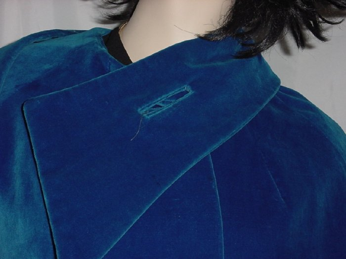 Coat Vintage Royal Blue Velour Swing Coat Ladies dress coat  #57