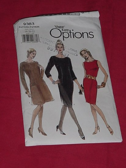 Vogue Very Easy Very Vogue Dress Pattern Size 18-20-22 9383   #59