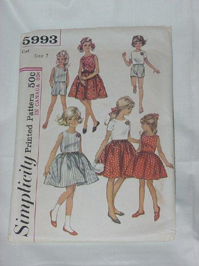 Simplicity Girls 1965 Dress top shorts Pattern 5993 #59