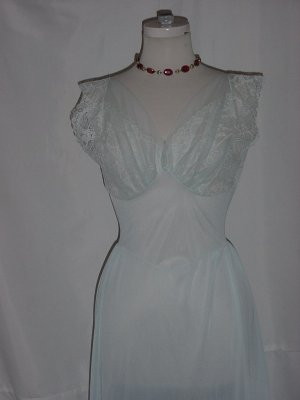Baby Blue Lacy Bodice night gown 1940s 1950s nightgown  #60