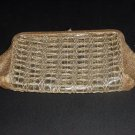 Gold Clear Plastic Clutch Purse Vintage Handbag #63