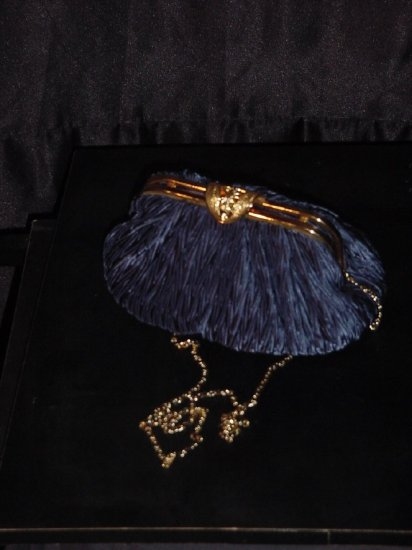 Blue Carla Marchi Formal Clutch Purse Gold chain handle  #63