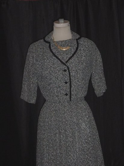 Womens Tweed vintage dress and jacket Tweed pleated bolero jacket  #63