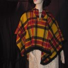 Poncho Vintage Hippie Plaid Ladies Poncho Cape #64