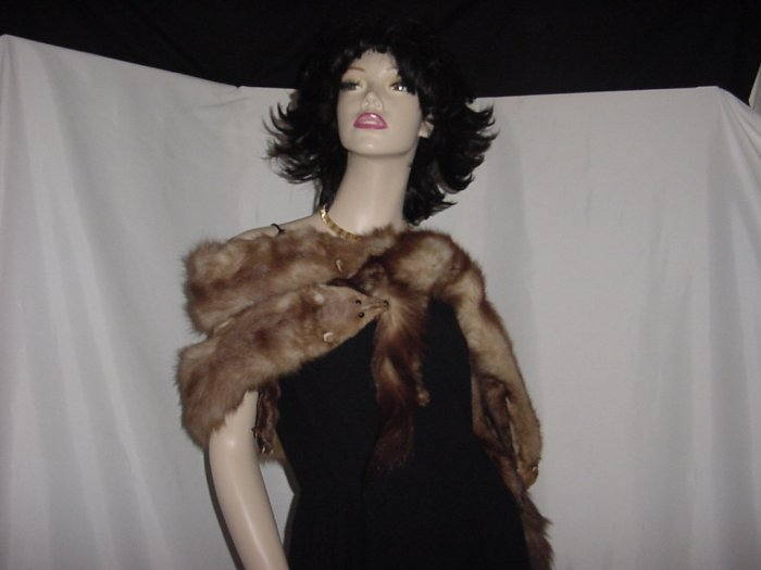 Mink collar Scarf 5 pelts Fur tails feet head Unusual Color stole Brown Ash blond  #49