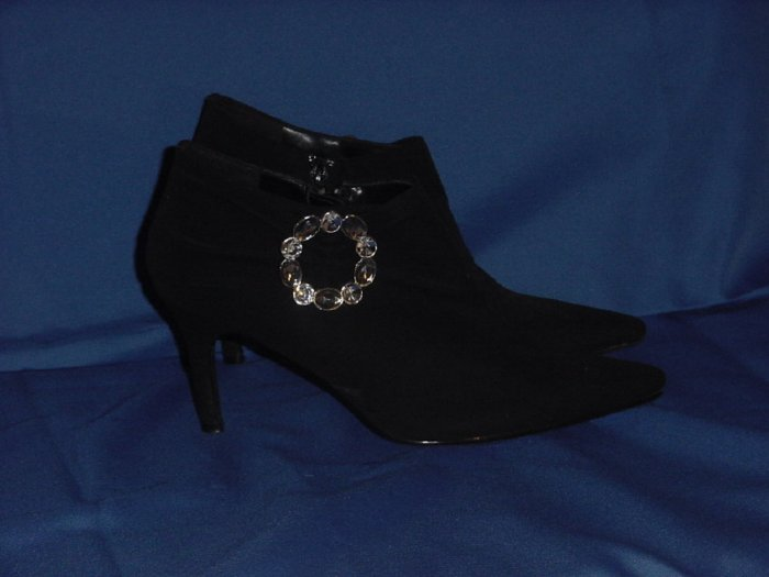 High heel Black Ankle boots shoes snazzy rhinestoney side buckle Predictions  8 1/2 W    #65