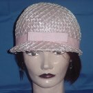 Womens vintage hat Pink Bubble helmet cellophane straw hat #