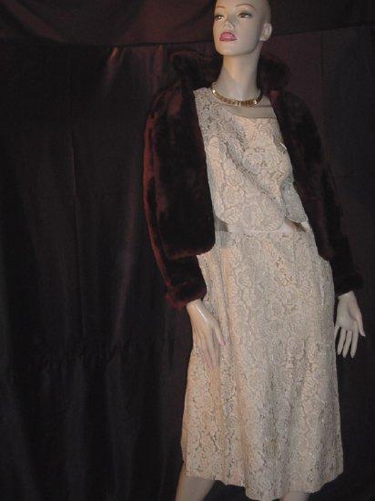 Mouton Coat Vintage Short fur Jacket Ladies dress coat  #49