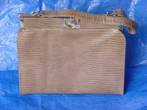 Faux reptile Skin Bag Vintage purse handbag Medium Brown #67