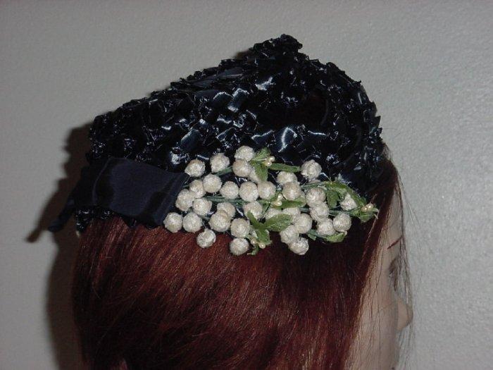 Hat Ladies Vintage 1940 1950 Navy White  Womens Straw #67
