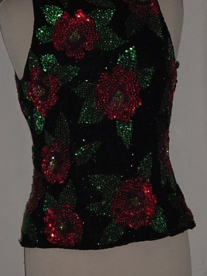 Laurence Kazar Shell Floral Beaded Sequin Top Bead Party Cruise Silk Formal Evening Blouse  #70